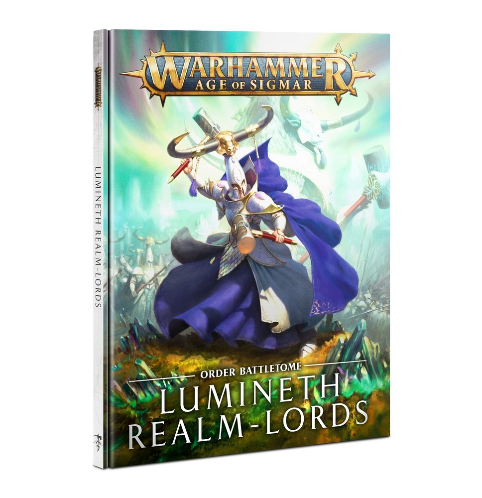 Front cover of the Lumineth Realmlords battletome from Games Workshop