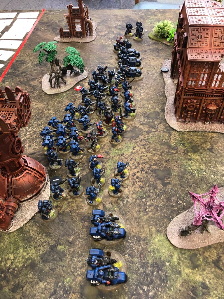 A fully painted Crimson Fist space marines army for Warhammer 40,000