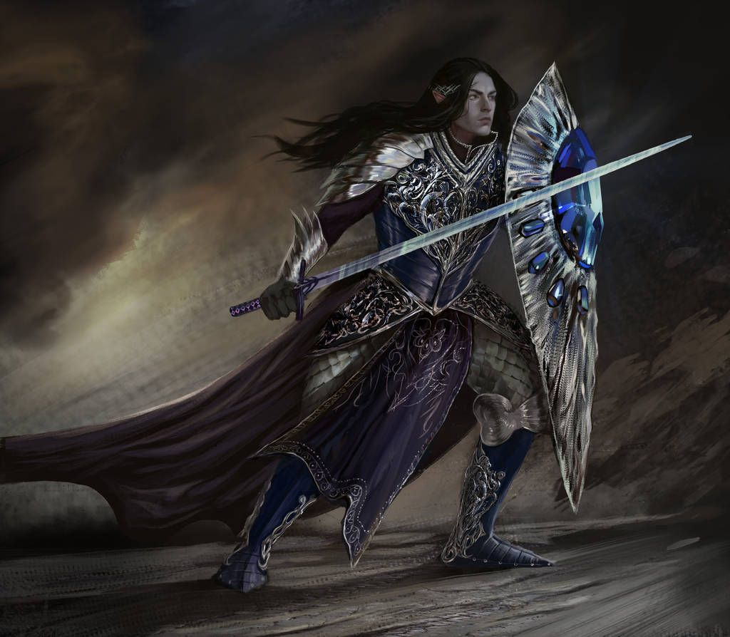 A painted portrait of Fingolfin holding a sword and shield