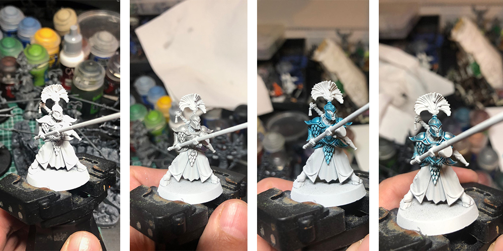 Step by step armour painting on a lumineth realm-lords vanari auralan warden