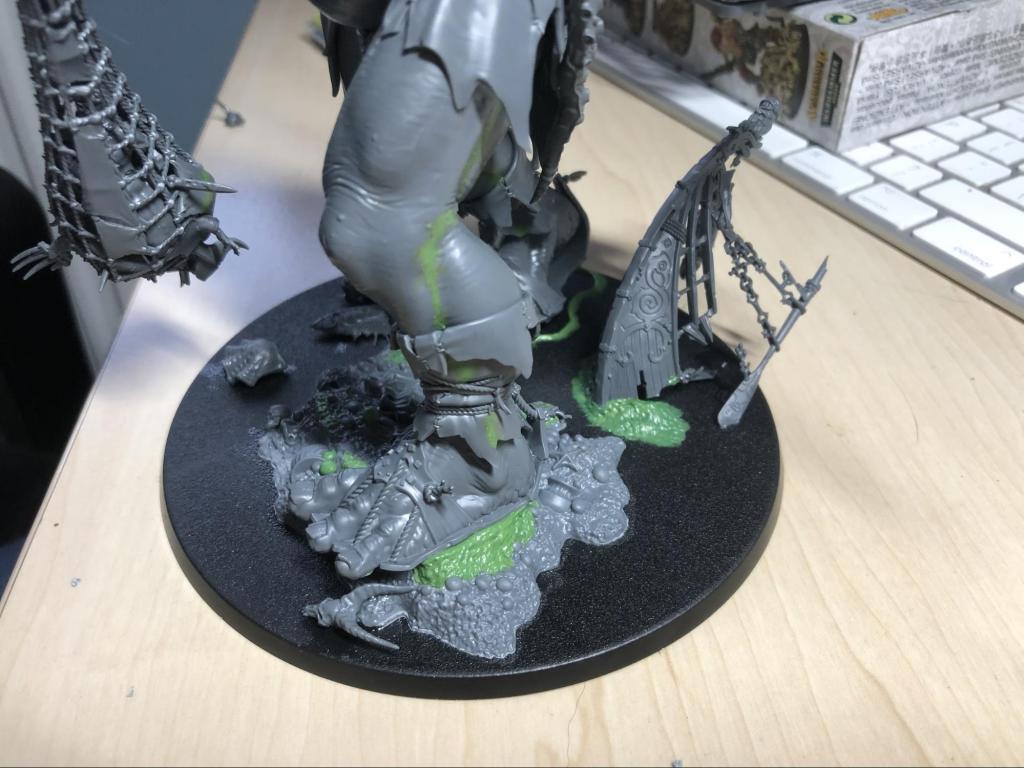 Citadel Sons of Behemat Mega Gargant base with green stuff sculpting