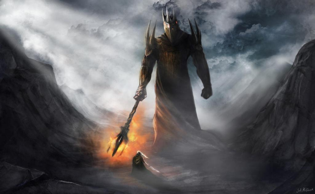 Painting of Fingolfin's duel with Morgoth