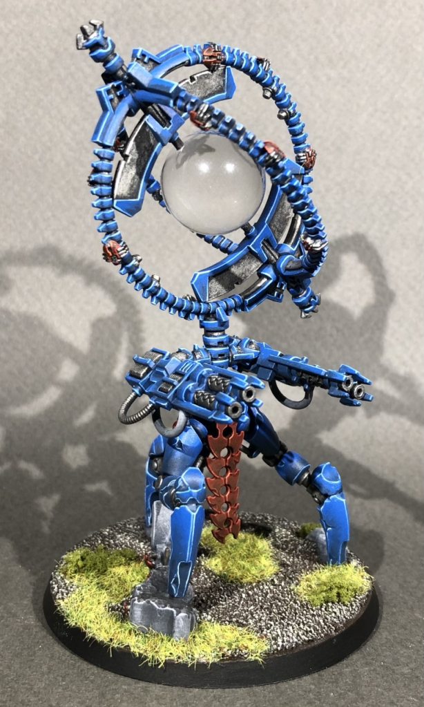 An elaborate and well-painted necron skorpekh lord conversion