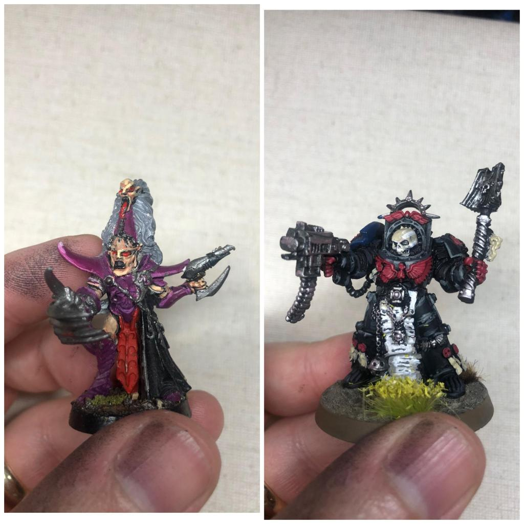 Side-by-side comparison of two painted warhammer 40,000 models