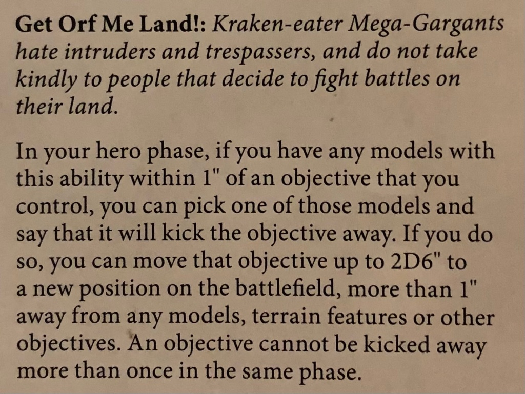 Get orf me land rules from Battletome Sons of Behemat