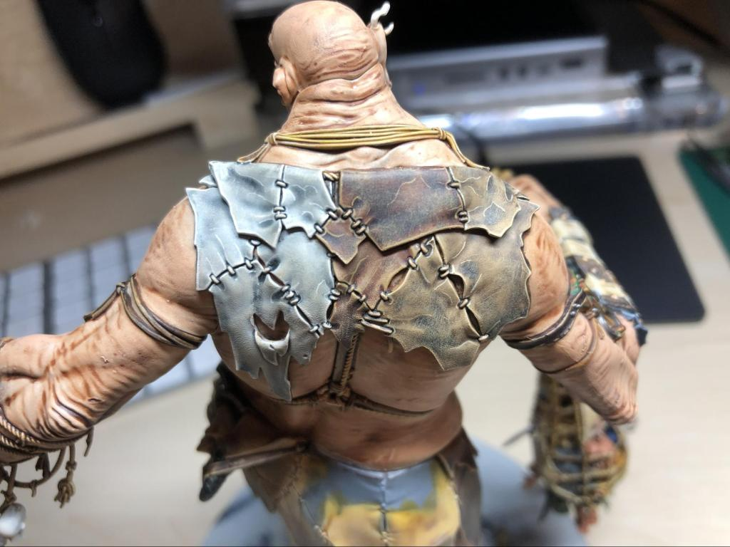 Patchwork of painted leather colours on a Mega Gargant