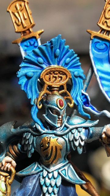 Lumineth Realm-Lord model mostly painted