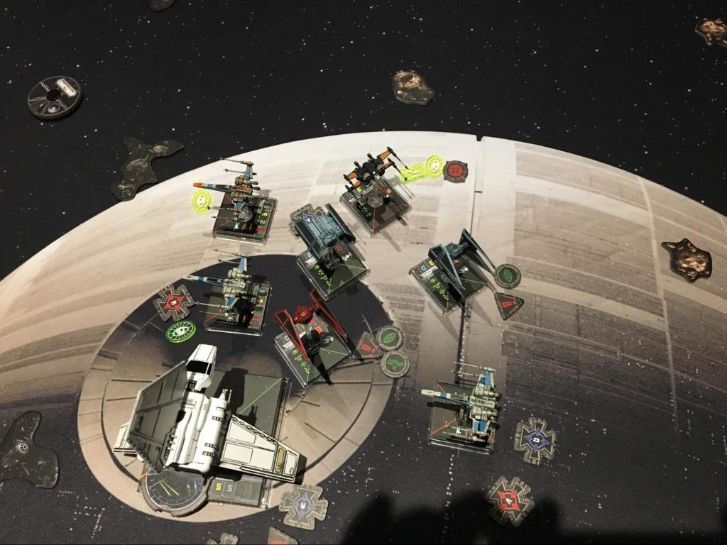 A game of X-Wing from Fantasy Flight in play