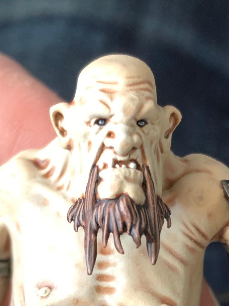 Painting the beard on a mancrusher gargant