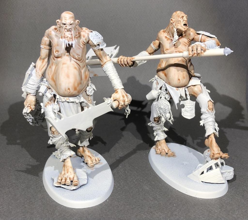 two part-painted gargants with contrast flesh