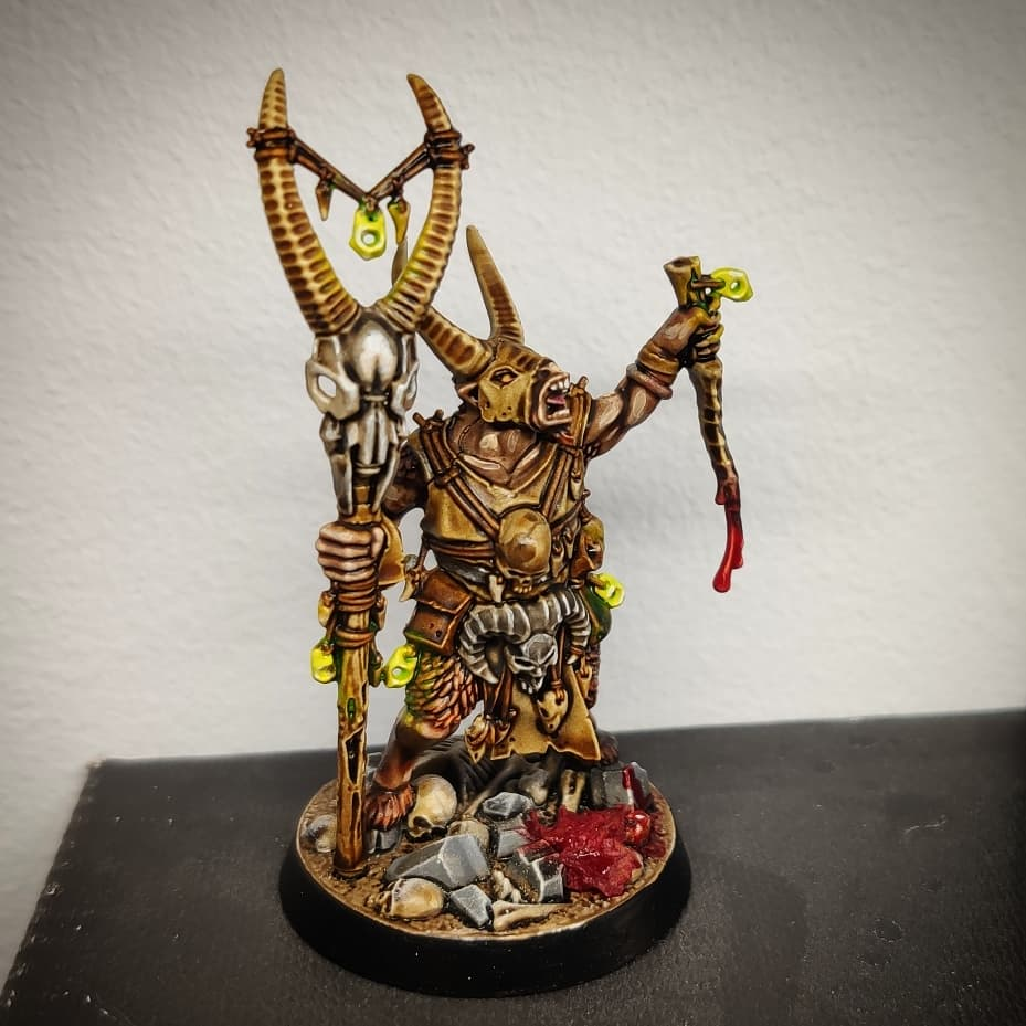 Well-painted beasts of chaos shaman for Age of Sigmar