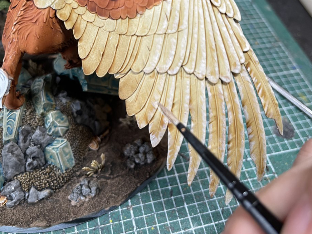 Painting celennar's feathers